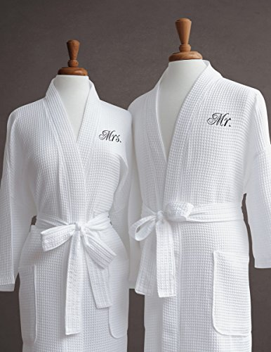 Luxor Linens Egyptian Cotton Waffle Weave Robe with Couple's Embroidery - Perfect Wedding Gift! (Mr./Mrs.) with Gift Packaging!
