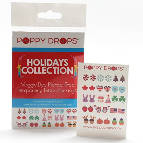 Holidays Collection - Veggie-Based Temporary Tattoo Earrings. Safe, Non-Toxic Ear Piercing Alternative. - 1