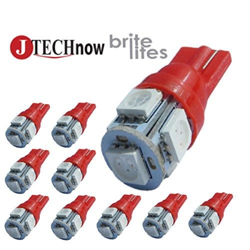 Jtech 10X 194 168 2825 T10 5-Smd Red Led Car Lights Bulb