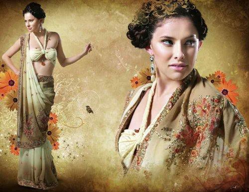 Anupam Bridal Embroidered Party wear contemporary georgette banarsi sari fabric / saree / wrap