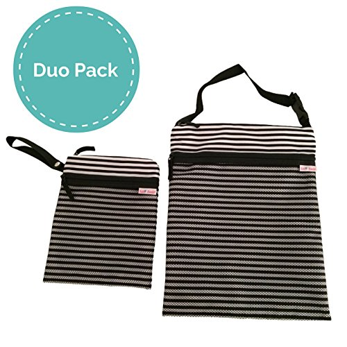 Fall Sale - TUTTI BIMBI Travel Wet and Dry Bag - Duo Pack Medium and Small (black and white stripe) (Wet Bag Travel compare prices)