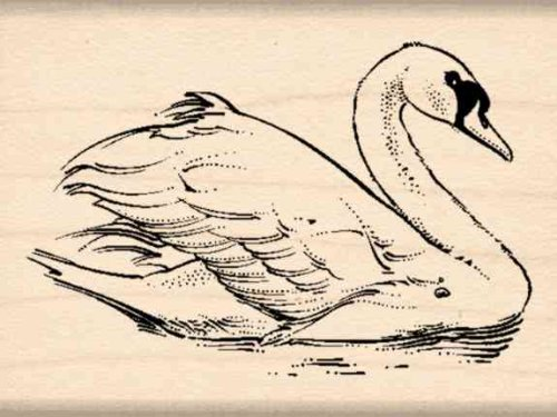 Swan Rubber Stamp - 1-1/2 inches x 2 inches