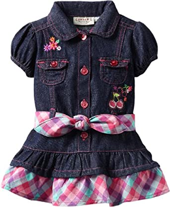 Carter's Watch the Wear Baby-girls Infant Denim Dress With Cherries and Striped Belt, Dark Denim, 12 Months