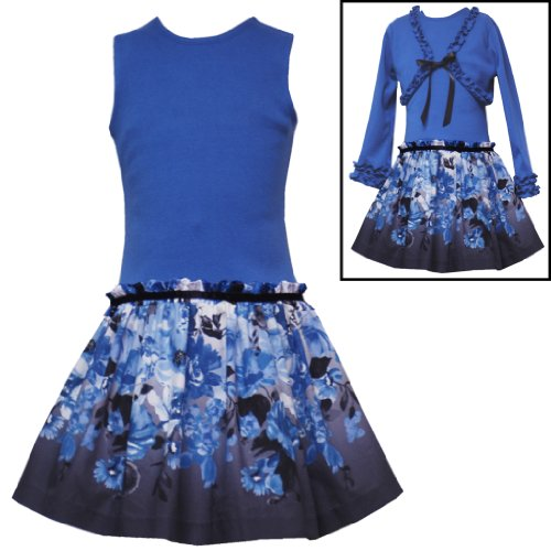 Size-3T RRE-35820F 2-Piece ROYAL BLUE FLORAL PRINT PAPERBAG DROP WAIST Special Occasion Flower Girl Party Dress/Shrug Set,F735820 Rare Editions GIRLS