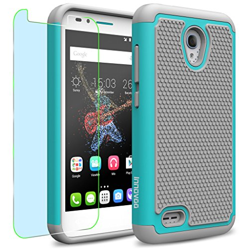 Alcatel One Touch GO PLAY / 7048X Case, INNOVAA Smart Grid Defender Armor Case W/ Free Screen Protector & Touch Screen Stylus Pen - Grey/Teal