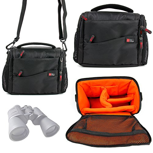 Duragadget Large Padded Double-Zip Holdal Case With Adjustable Shoulder Strap For Serious User 10X50 Binoculars, Celestron 71008 25X70 Skymaster Porro Prism Binoculars & Nikon Aculon A211 16X50 Binoculars