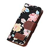 Iphone 5 Case, Shensee Fashion Flip Magnetic Wallet Floral Jacquard Leather Cover Case for Iphone 5c, Women Bag...