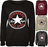 NEW WOMEN CONVERSE ALL STAR SWEATSHIRTS LONG SLEEVE JUMPER PULL OVER TOPS UK SIZE 8-14