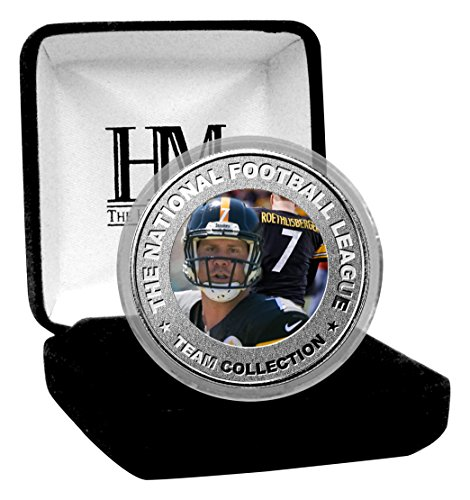 """NFL Pittsburgh Steelers Ben Roethlisberger Color Coin, 8"""" x 4' x 1"""", Silver"""