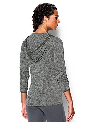 889362157115 - Under Armour Women's UA Tech Long Sleeve Hooded Henley Small DOWNTOWN GREEN carousel main 1