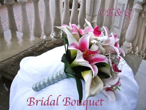 GORGEOUS LILY FUSCHIA Complete Wedding Package Bridal Bridesmaid Groom Corsagesilk flowers