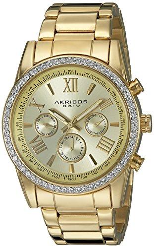 Akribos XXIV Men's Round Champagne Dial Three Hand Quartz Gold Tone Bracelet Watch