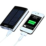 Universal 10000mAh Portable Dual USB External Solar Power Bank /Backup Battery Charger; External Battery Packs for Headlamp iPhone iPod iPad HTC Samsung Blackberry and Other Smartphone(Apple Adapters Not Included)
