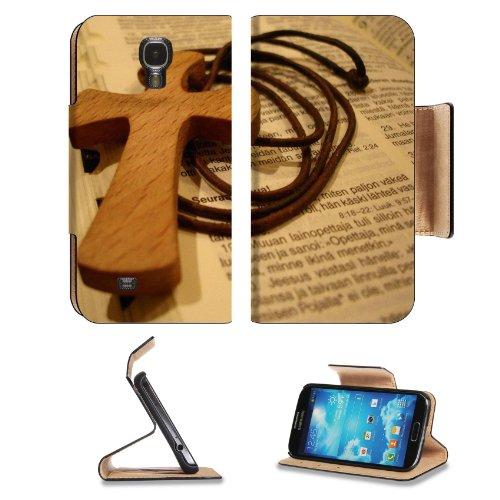Christianity Open Bible With Cross Photo Samsung Galaxy S4 Flip Cover Case With Card Holder Customized Made To Order Support Ready Premium Deluxe Pu Leather 5 1/2 Inch (140Mm) X 3 1/4 Inch (80Mm) X 9/16 Inch (14Mm) Msd S Iv S 4 Professional Cases Accessor