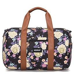 Vooray Roadie 16'' Small Gym Duffle Bag, Macana Floral Black