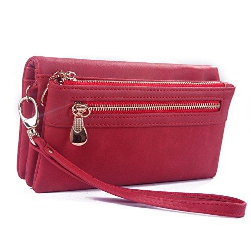 09. HDE Womens Suede Wallet Multi-Function Zipper Clutch Wristlet