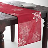 """Embroidered White Snowflake Holiday Christmas Red Table Runner. 16""""x70"""" Rectangular. One Piece."""