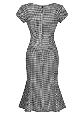 Miusol® Women's Vintage Houndstooth-Print Bow Slim Retro Evening Dress