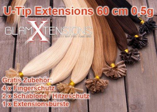 GlamXtensions Extensions de cheveux - 100% naturel 60cm - 0,5g - origine Inde - Au Système D'Extension Kératine 100 mèches #12 brun clair - light brown