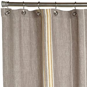 Coyuchi Rustic Linen Shower Curtain Gray With Mustard Ivory G
