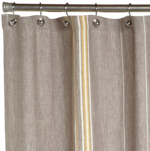 Coyuchi Rustic Linen Shower Curtain  Gray with Mustard Ivory Curtains Outlet