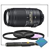 Nikon 55-300mm f 4.5-5.6G ED VR AF-S DX Nikkor Zoom Lens for Nikon Digital SLR with 3 Piece Filter Kit - Lens Pen & A2Z Microfiber Cleaning Cloth