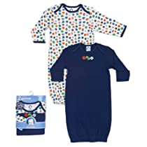 Gerber Baby-Boys Newborn 2 Pack Lap Shoulder Gown, Blue, 0-6 Months
