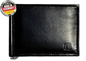 OPTEXX® RFID Blocking Wallet / Money Clip William Black Nappa with OPTEXX® Protection; Made in Germany