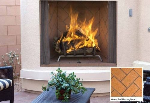 "36"" Masonry Outdoor Wood Fireplace, Red Herringbone Brick"