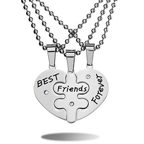 MeMeDIY 3 PCS Best Friends Forever Argento Acciaio Inossidabile Pendente Ciondolo Collana Zirconia Cubica Zircone Cuore Amicizia Paar - personalizzato incisione