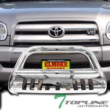 Topline Autopart S/S Stainless Steel HD Chrome Bull Bar Brush Bumper Grille Guard 1999-2006 Toyota Tundra/Sequoia (03 Tundra Bull Bar compare prices)