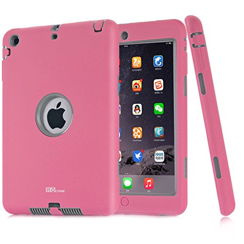 Mini iPad Case, Hocase Ruggged High-impact Dual Layer Hard Rubber Protective Case Cover for Apple iPad mini 1 / 2 / 3 - Pink / Grey (Ipad Mini Hard Cover compare prices)