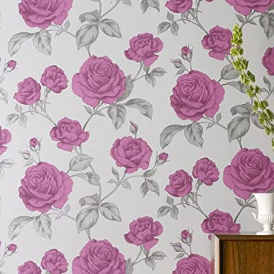 Bloom |Pink & Metallic Effects Floral Wallpaper from 4YourWalls