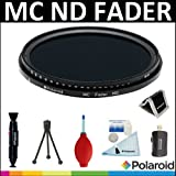 Polaroid Optics HD Multi-Coated Variable Range (ND3, ND6, ND9, ND16, ND32, ND400) Neutral Density (ND) Fader Filter + Cleaning & Accessory Kit For The Sony Alpha NEX-C3, NEX-7, NEX-5N, NEX-5, NEX-3 Digital SLR Cameras Which Have The Sony E Series (18-200