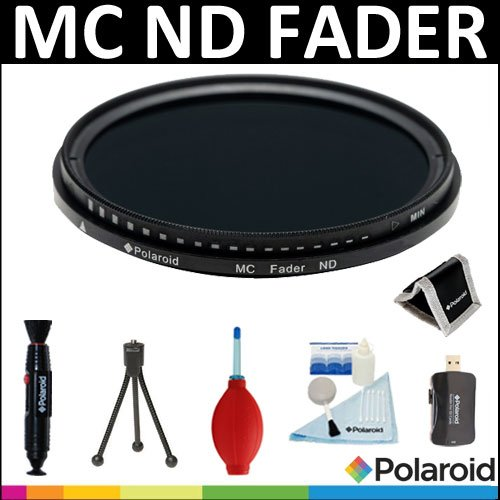Polaroid Optics HD Multi-Coated Variable Range (ND3, ND6, ND9, ND16, ND32, ND400) Neutral Density (ND) Fader Filter + Cleaning & Accessory Kit For The Sony NEX-VG10, NEX-VG20 Handyman Camcorder With 18-200mm Lens