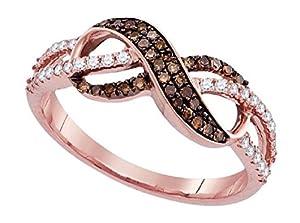 0.35 cttw 14k Rose Gold Cognac Brown Diamond White Diamond Infinity Twist Ring, 8mm (7)