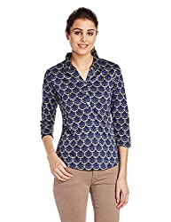 And Women's Button Down Top (AW16N471KTJQ4_Print_X-Small)