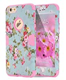 """iPhone 6s Plus case, iPhone 6 Plus case Flower, TOPSKY [Love Flower Series] Three Layer Heavy Duty High Impact Resistant Hybrid Protective Cover Case For iPhone 6/6s Plus (Only For 5.5""""), Pink"""