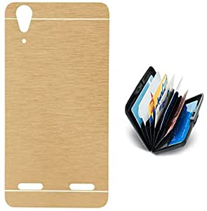 Tidel Golden Durable Aluminium Brushed Metallic Back Cover For Lenovo A6000 With Credit Card & Cash Holder