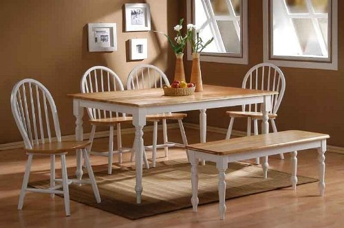 6pc Casual Dining Table and Chairs Set with Natural Top in White Finish