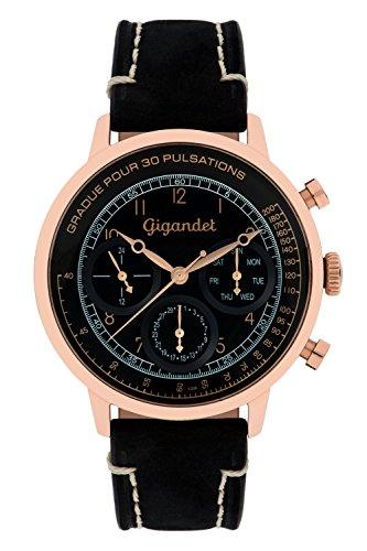 Gigandet PULSATION Vintage Orologio Uomo Multifunzione Analogico Quarzo Nero Oro Rosso G45-005