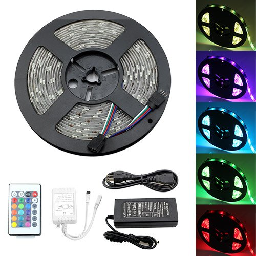 Iwishlight 5M 16.4Ft Roll Leds Color Rgb Changing Smd 5050 Light Strip + Power Supply Adapter + 24Key Controller