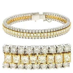 14K Two Tone Gold 13.79cttw Round Diamond Bracelet