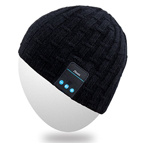 Rotibox Washable Winter Men Women Hat Bluetooth Beanie Running Cap w/ Wireless Stereo Headphones Mic Hands Free Rechargeable Battery for Cell Phones,iPhone, iPad, Android,Laptops,Tablets,Gifts - Black