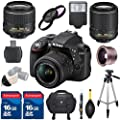 Premium Bundle For D3300 DSLR Camera Body + 18-55mm VR II Lens + 55-200mm VR II Lens + .42x Fisheye Auxiliary Lens + Filter Kit + Professional Tripod + Electronic Flash + 2pcs 16GB Memory Cards