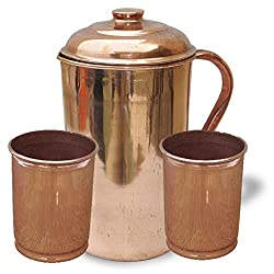 AsiaCraft Pure Copper Jug & 2 Borosil Glass Set
