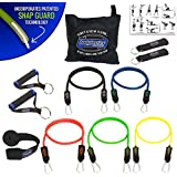 BODYLASTICS 12 PCS Patented Anti-Snap Resistance Bands Set. Includes 5 Best Quality ANTI-SNAP bands, heavy Duty Components: Anchor/Handles/Ankle Straps, and exercise training resources.