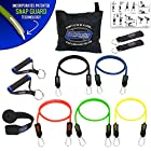 Bodylastics 12 pcs Max Tension Resistance Exercise Bands Set. This super tough system features Professional quality components at a non-professional price. You get 5 Stackable and Patented Malaysian Latex Snap Guard exercise tubes, Ultra Heavy Duty components, carrying case, and printed instructions for the top muscle building exercises. Get the same system that's trusted by Law Enforcement, The Military and professional sports.