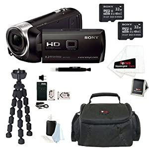 Sony HDR-PJ275/B HDRPJ275 PJ275 8GB Full HD 60p Camcorder w/ built-in Projector + Sony MicroSD 32GB Class 10 Memory Card (2) + NP-BX1 Batteries (2) with Charger + Camcorder Case + Accessory Kit