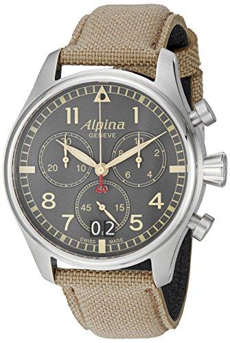Alpina-Mens-AL-372BGR4S6-Startimer-Pilot-Chronograph-Big-Date-Analog-Display-Swiss-Quartz-Beige-Watch